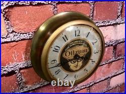 Vtg Ingraham Oilzum Oil Old Gas Station Advertising Display Wall Clock Sign Esso