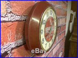 Vtg Ingraham Old Kendall Oil Dealer Advertising Gas Station Wall Clock Sign Gulf