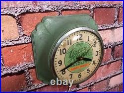 Vtg Ingraham Shell Green Streak Oil-old Gas Station Advertising Wall Clock Sign