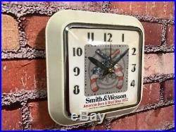 Vtg Ingraham Smith & Wesson Gun Shop Dealer Advertising Display Wall Clock Sign