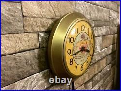 Vtg Ingraham Sun-drop Soda Old Golden Cola Advertising Diner Wall Clock Sign