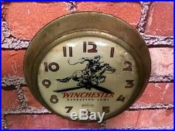 Vtg Ingraham Winchester Dealer Gun Shop Advertising Rifle Part Wall Clock Sign