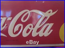 Vtg Large 1948 Coca Cola Soda Pop Metal Embossed Sign 1948 54 Bar Mancave Coke