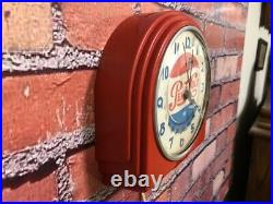 Vtg Red Deco Telechron Pepsi-cola Old Store Advertising Diner Wall Clock Sign