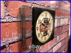 Vtg Telechron Dr Pepper Soda Old Chrome Deco Diner Advertising Wall Clock Sign