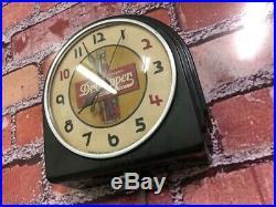 Vtg Telechron Dr. Pepper Soda-old Store Advertising Display-diner Wall Clock Sign