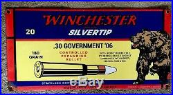 Winchester Porcelain Steel Ammo. 30-06 Sign Gun Model 1895 Silvertip Western
